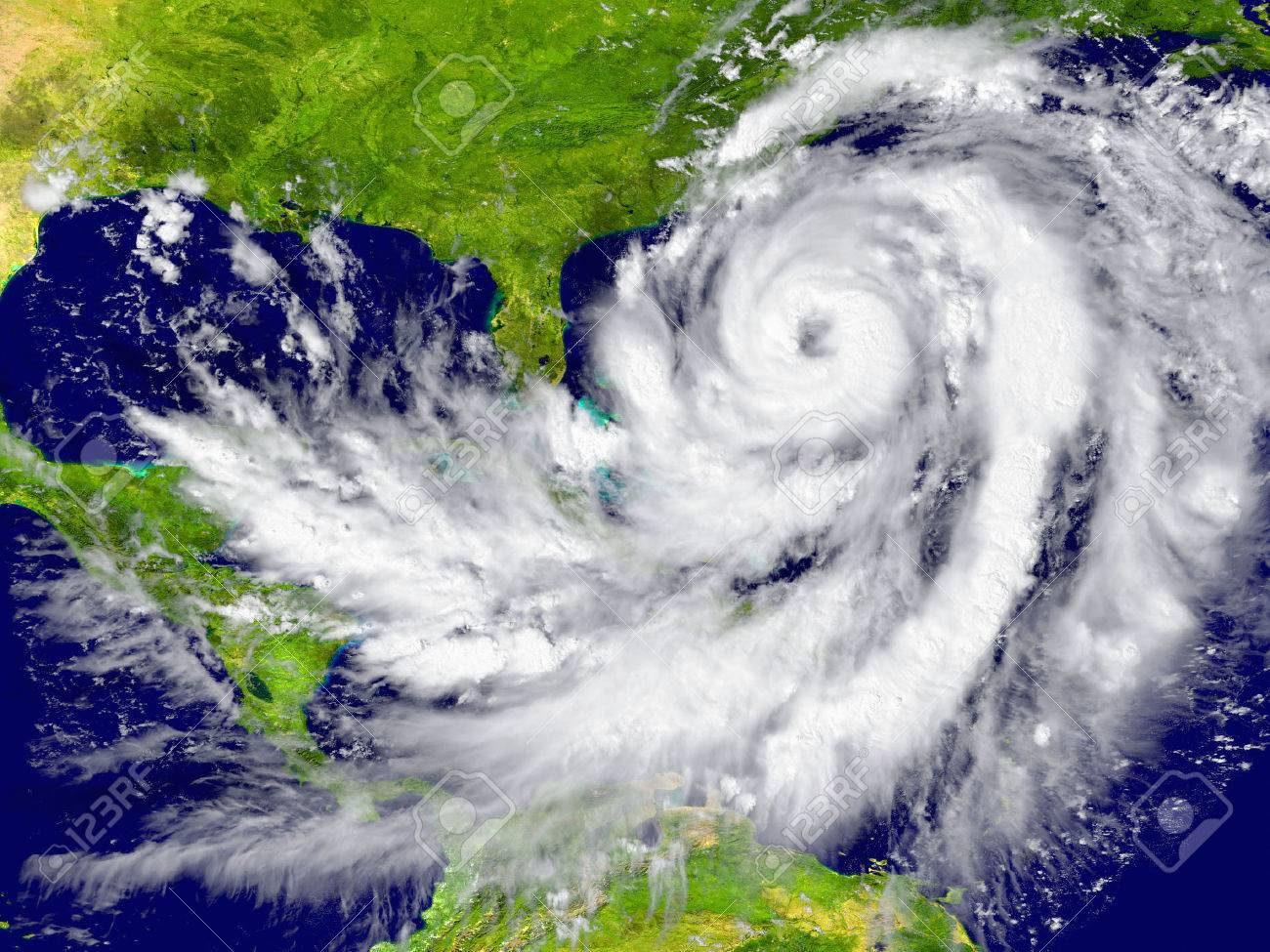Huge hurricane between Florida and Cuba. Elements of this image furnished by NASA Stock Photo - 30095329