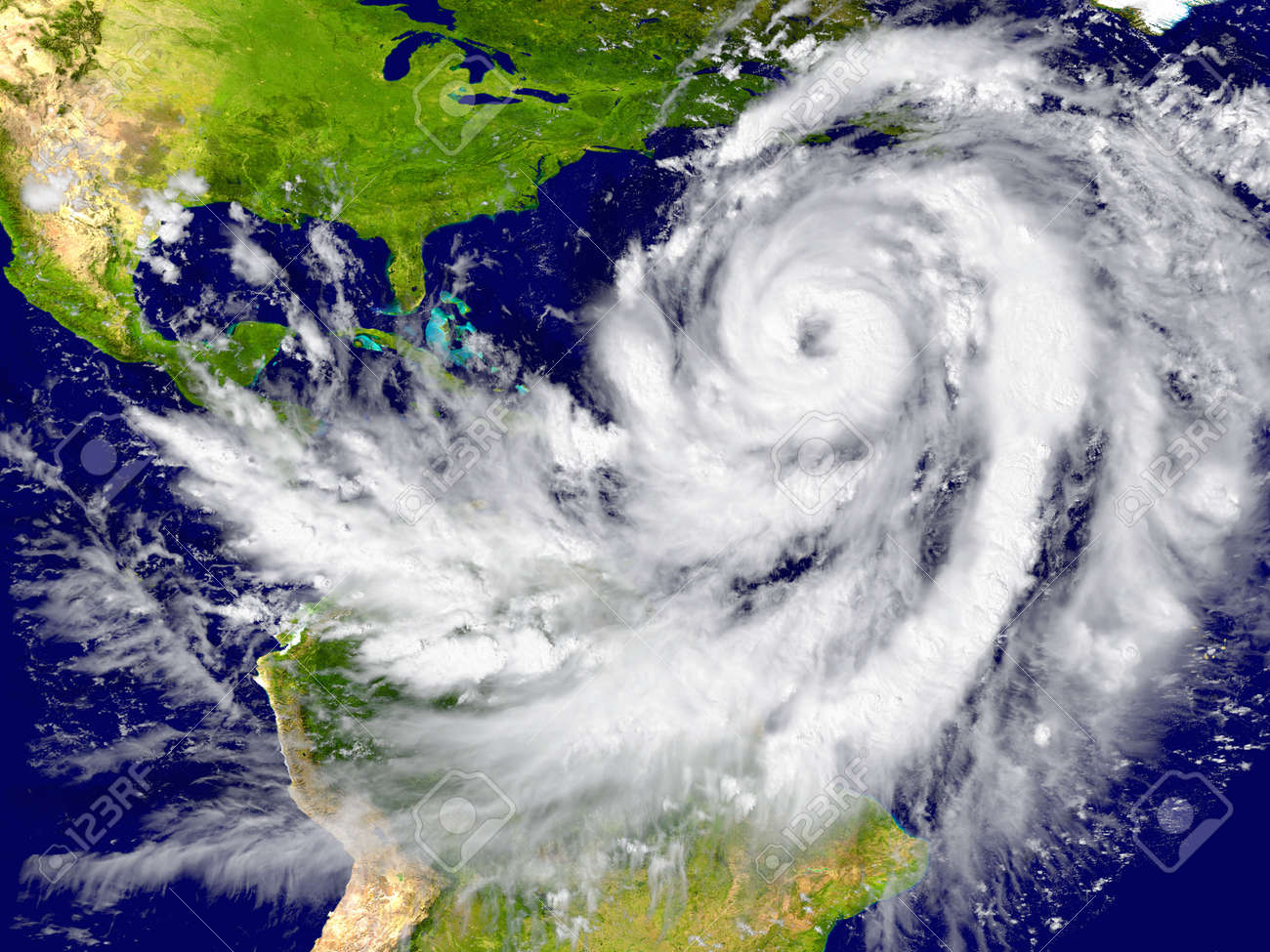 Enormous hurricane over the Atlantic. Elements of this image furnished by NASA - 39374805