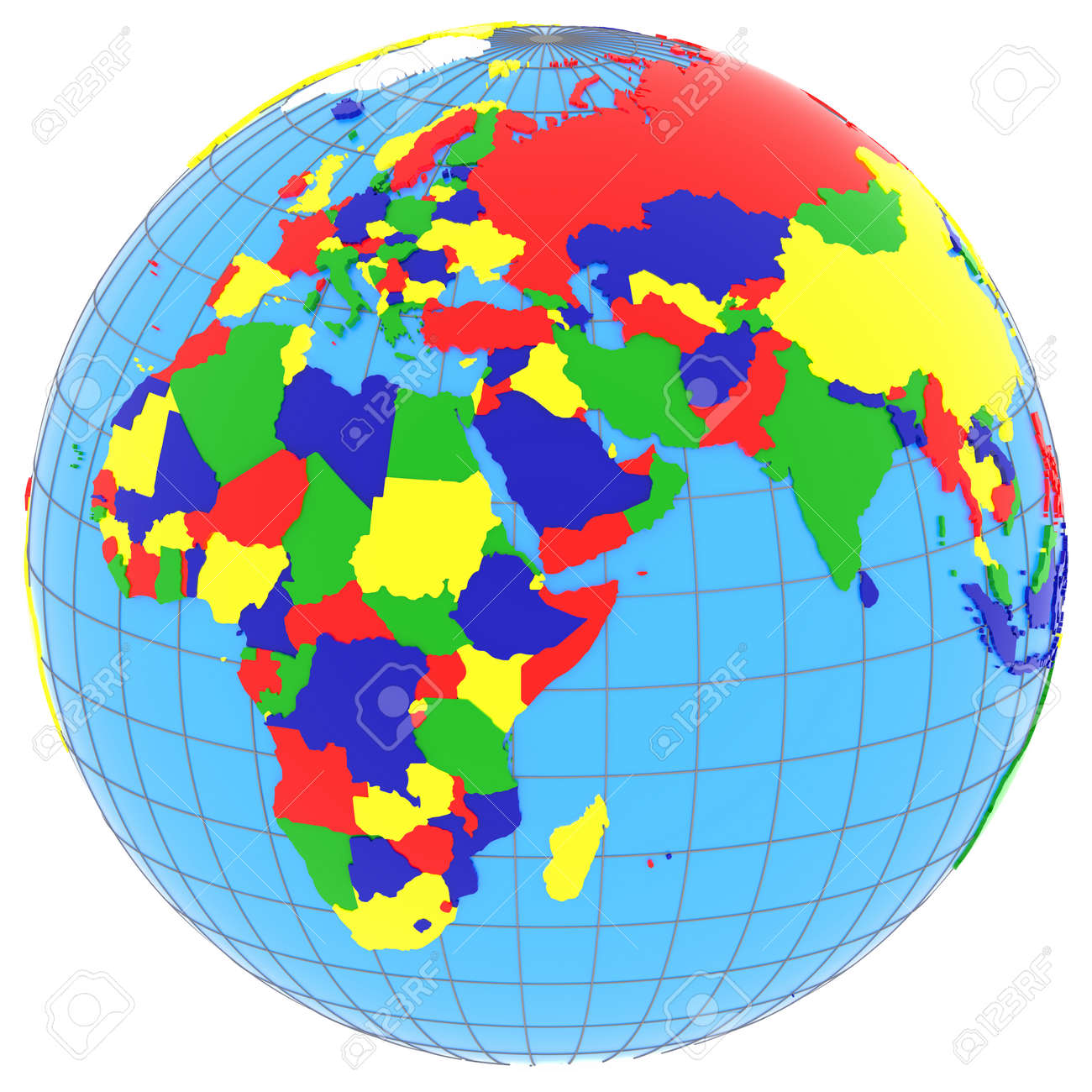Political Map Of Eastern Hemisphere With Countries In Four Colours