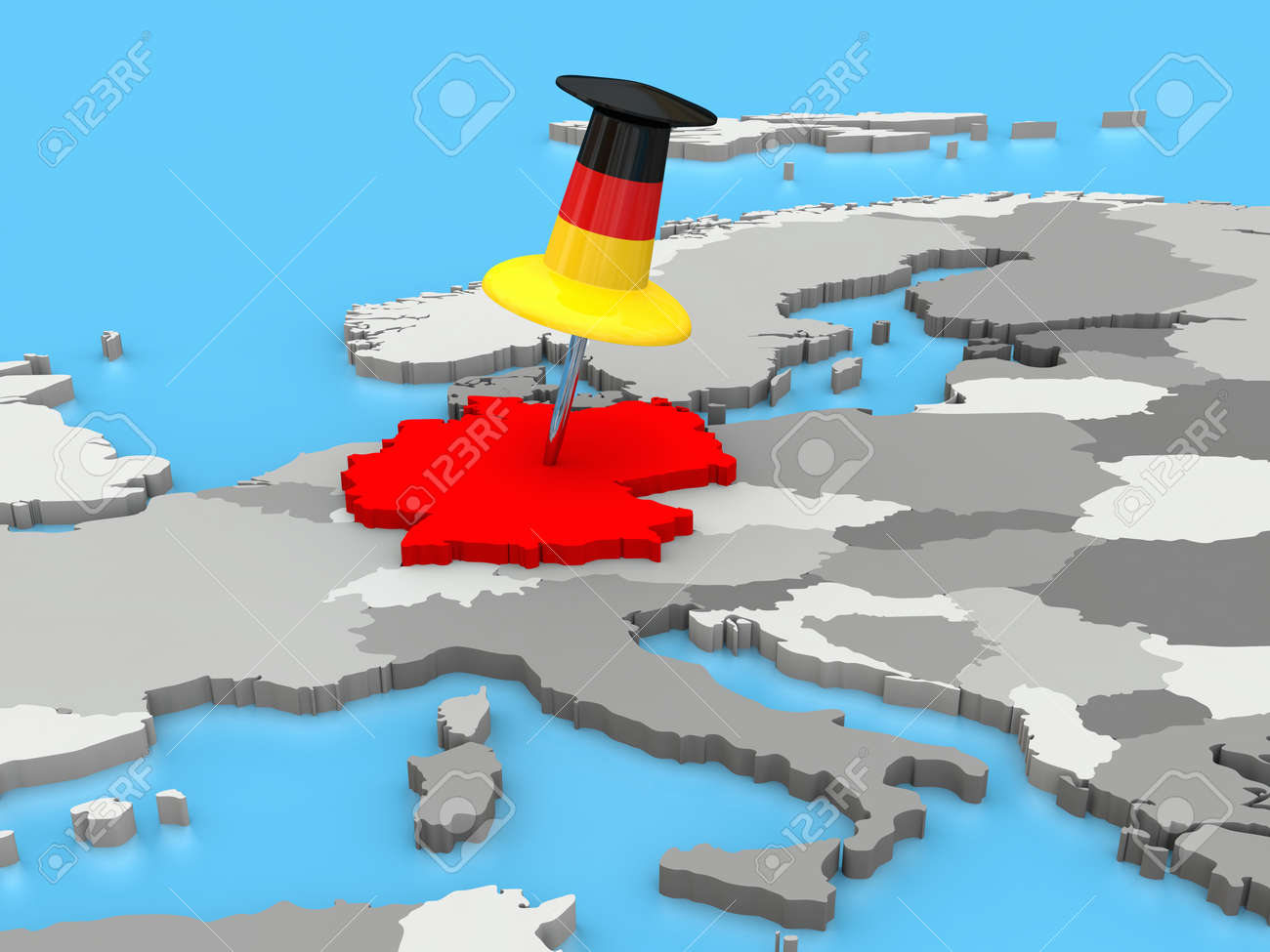 Germany Attached To The Map Of Europe With A Huge Push Pin – Germany in Europe Map