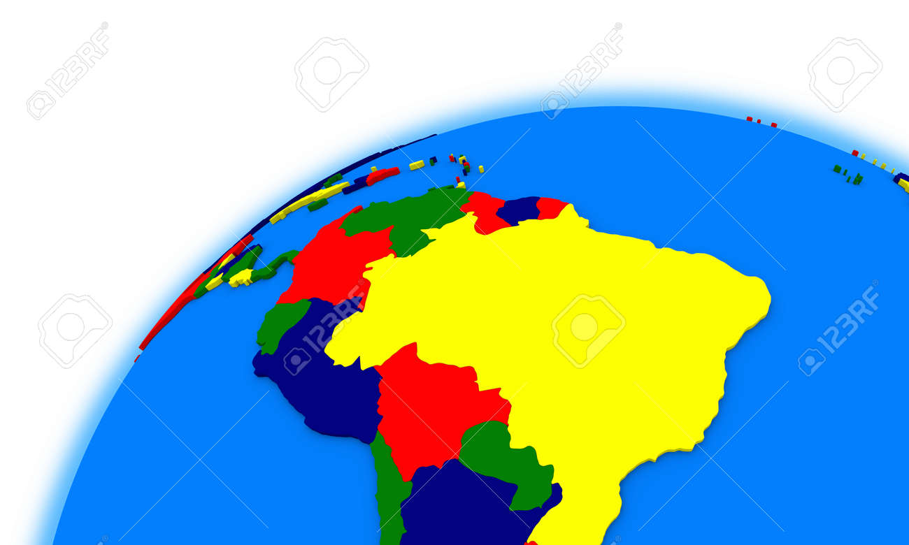 South America On Globe, Political Map Stock Photo, Picture And ...