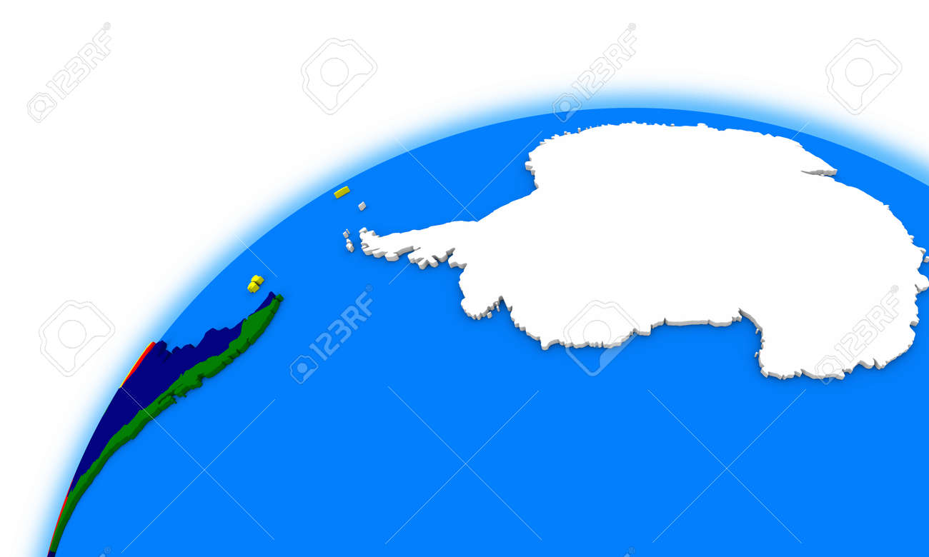 Antarctica On Globe Political Map Stock Photo Picture And Royalty