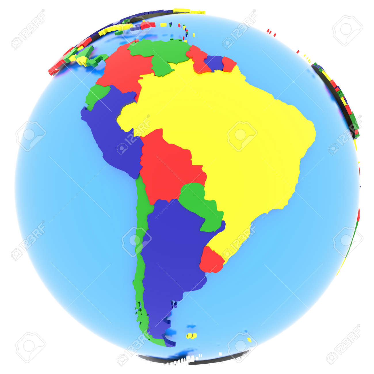 South America, Political Map Of The World With Countries In Four ...