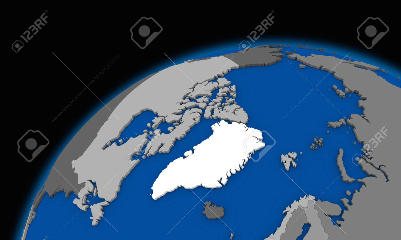 Arctic North Polar Region On Planet Earth Political Map Stock - Earth political map