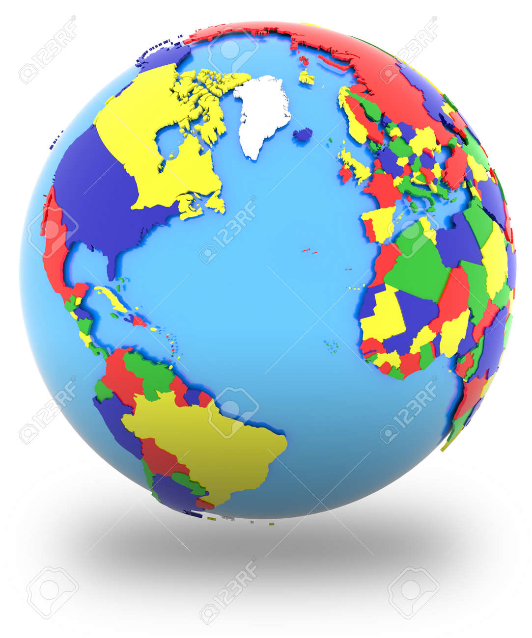 Western hemisphere political map of the world with countries western hemisphere political map of the world with countries in four colours isolated on gumiabroncs Gallery