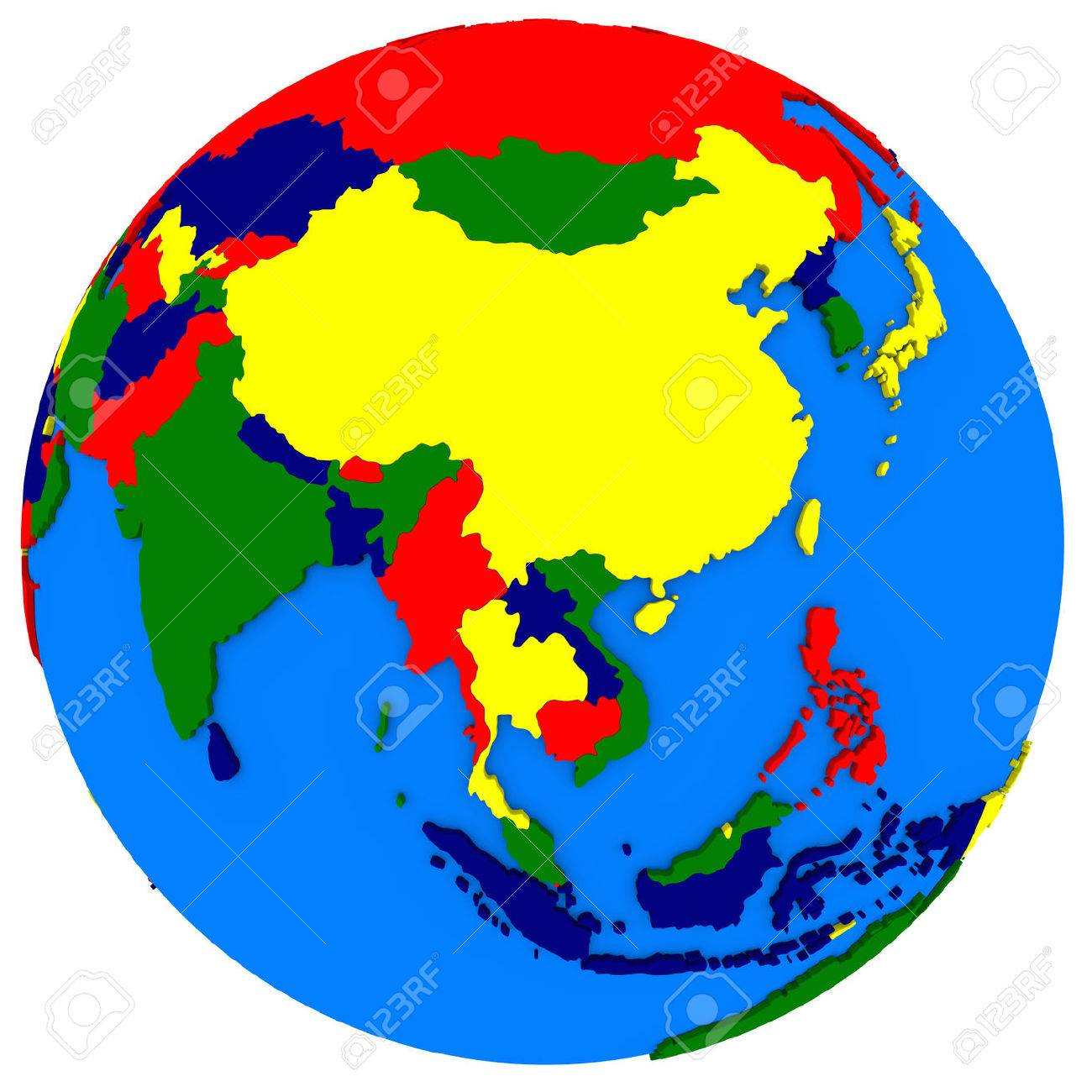 Political Map Of Southeast Asia On Globe, Illustration Isolated ...