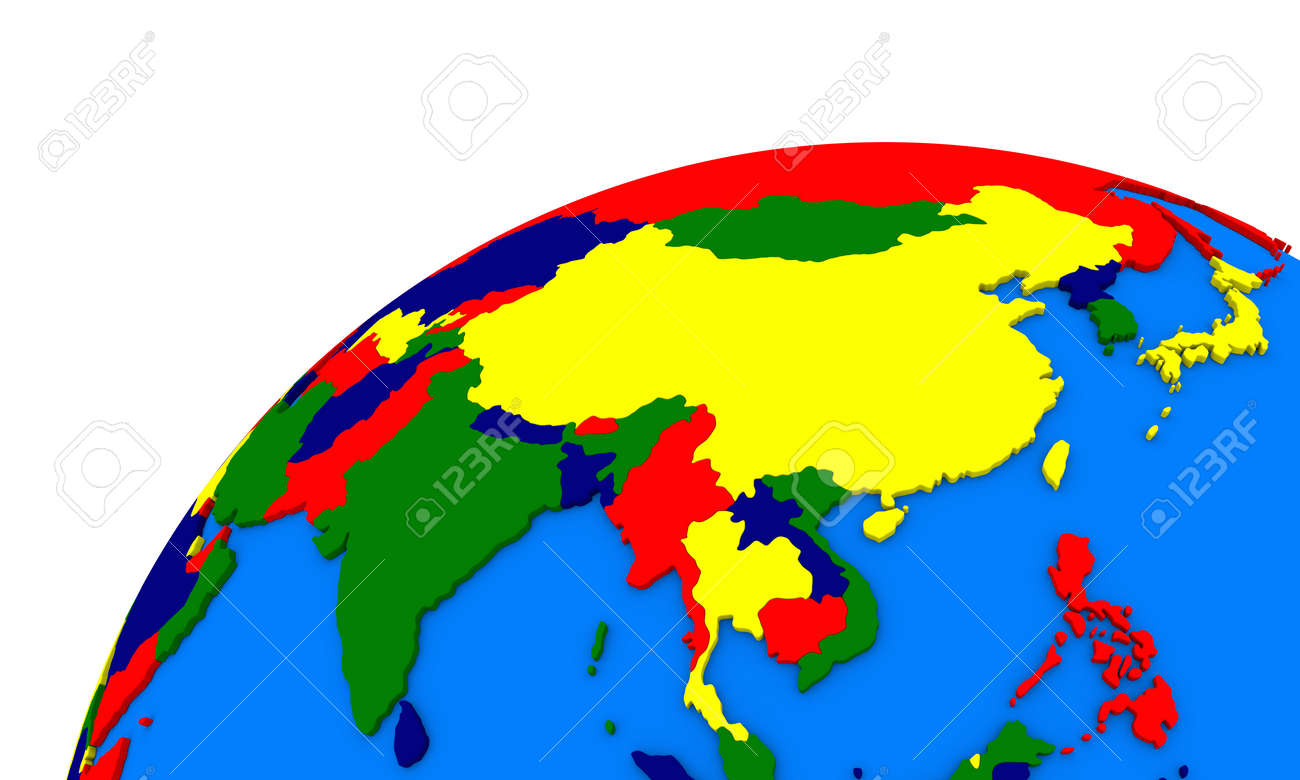 Political Map Of Southeast Asia.Political Map Of Southeast Asia On Globe Stock Photo Picture And