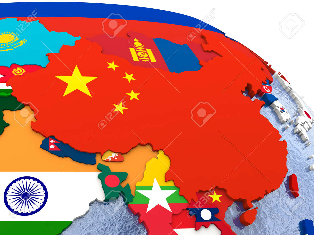 China - Political Map Of China And Surrounding Region With Each ...