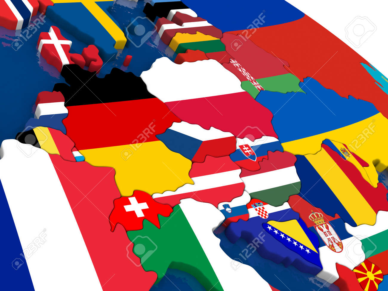 Central Europe Political Map.Map Of Central Europe With Embedded Flags On 3d Political Map