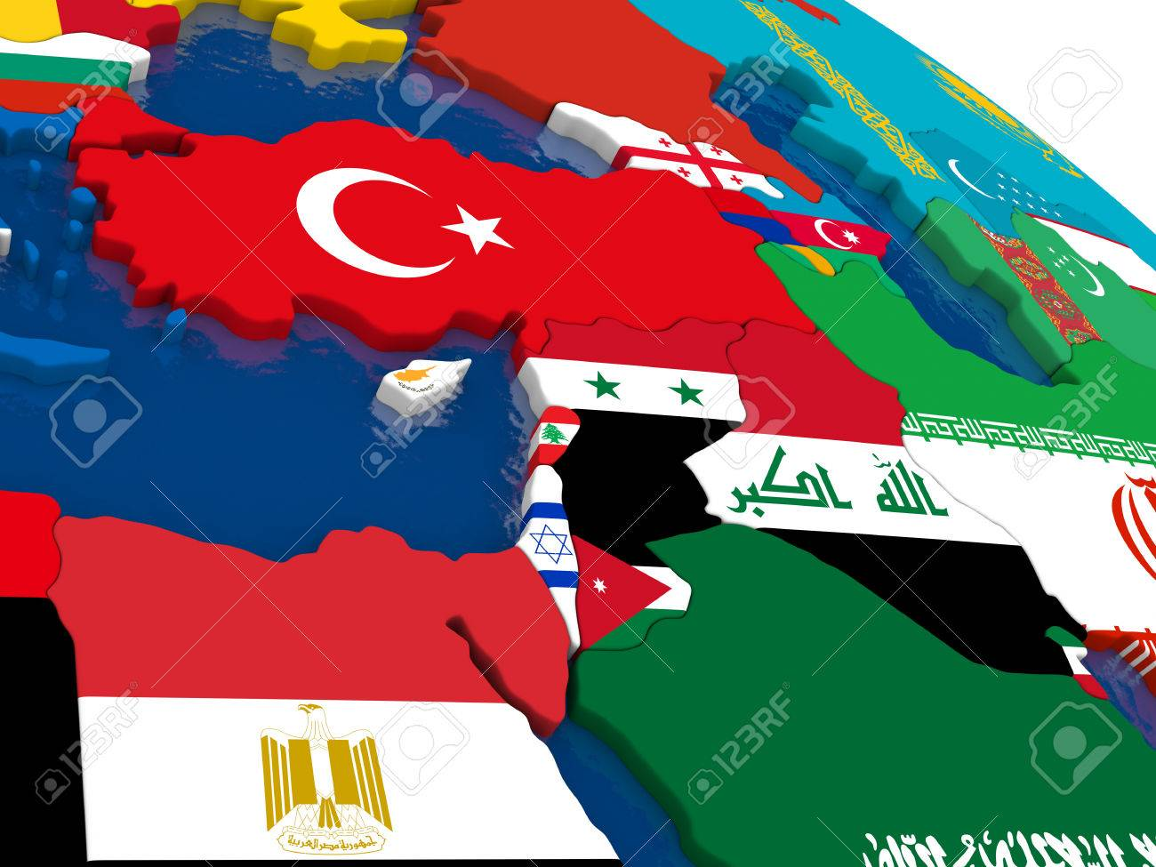 Map Of Middle East With Embedded Flags On 3D Political Map. Accurate ...