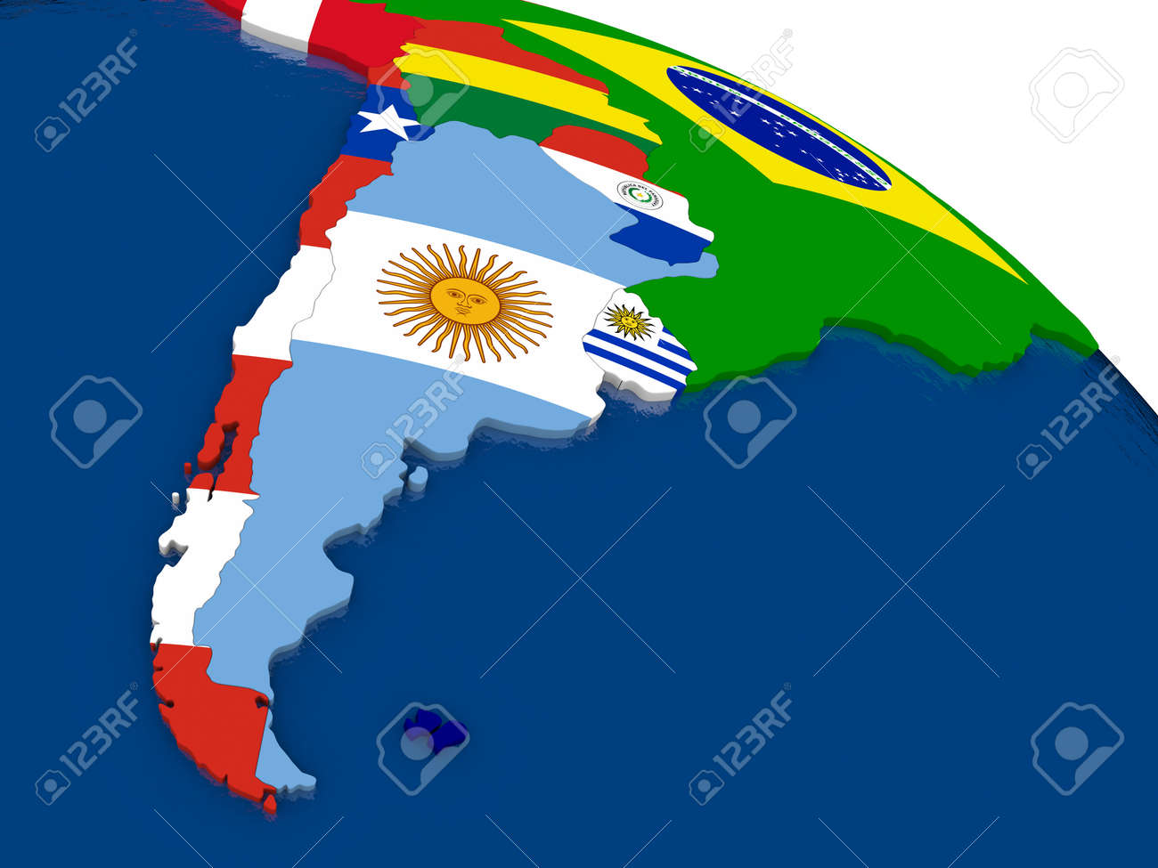 Map Of Argentina And Chile With Embedded Flags On 3d Political
