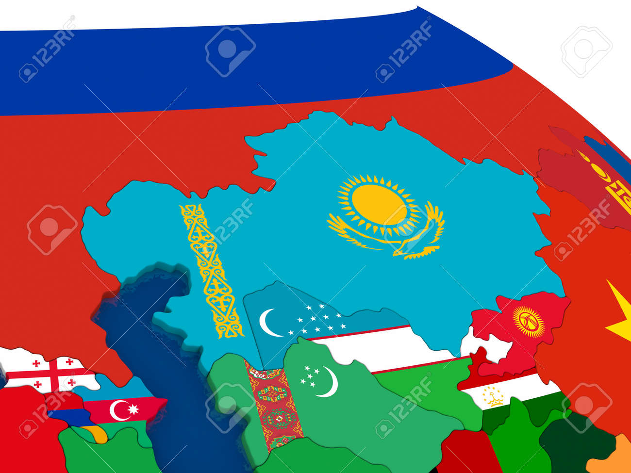 Kazakhstan Political Map.Map Of Kazakhstan With Embedded Flags On 3d Political Map Accurate