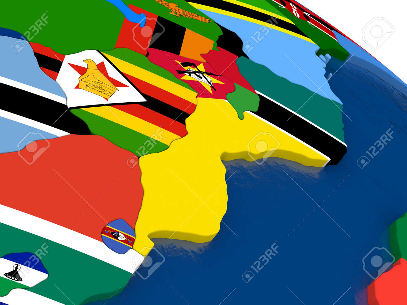 Map Of Mozambique And Zimbabwe With Embedded Flags On 3D Political ...