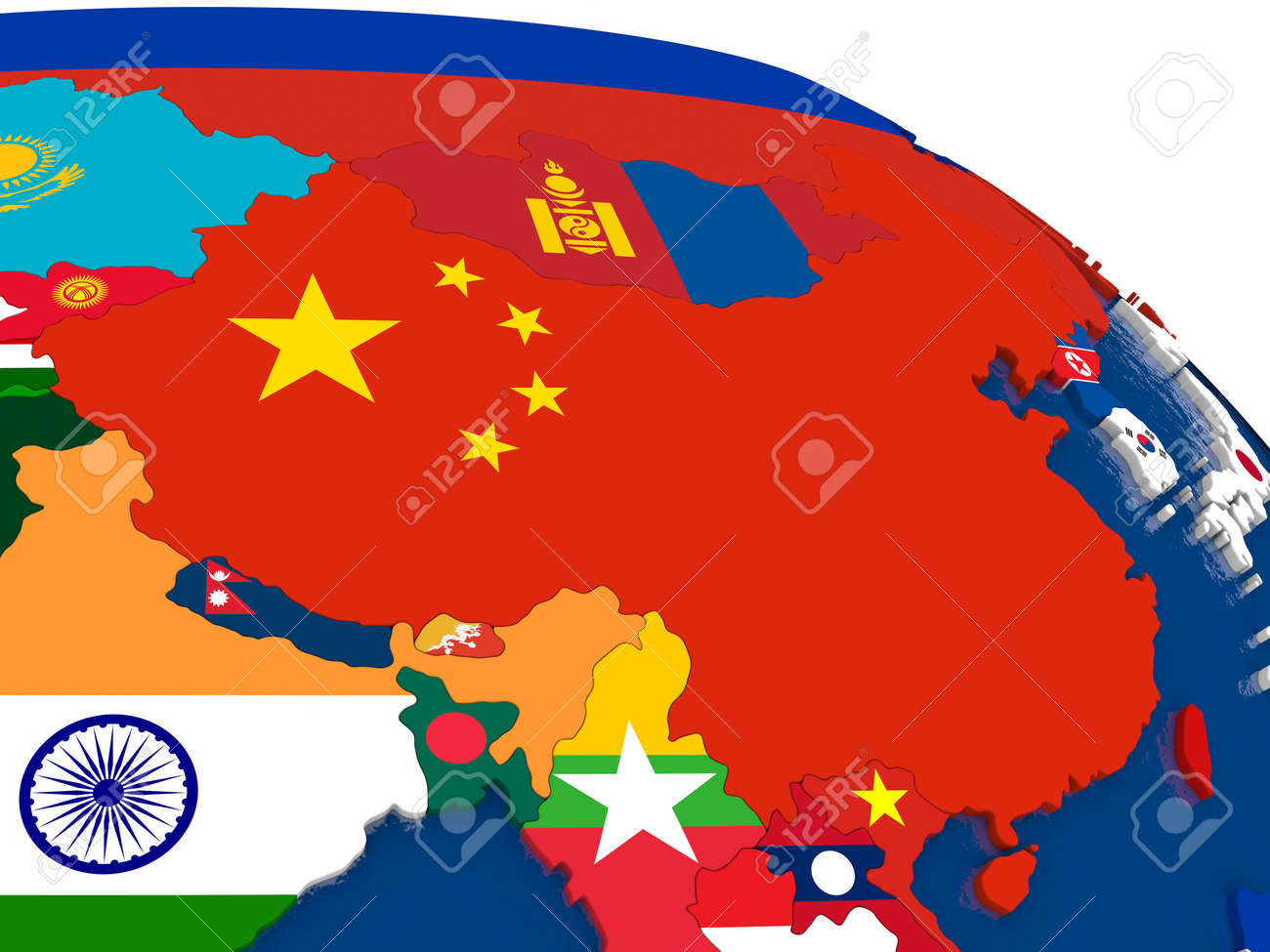 Map Of China With Embedded Flags On 3d Political Map Accurate