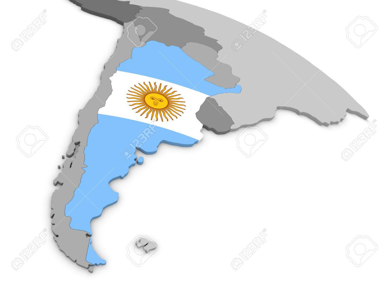 Map Of Argentina With Embedded National Flag D Illustration - Map of argentina