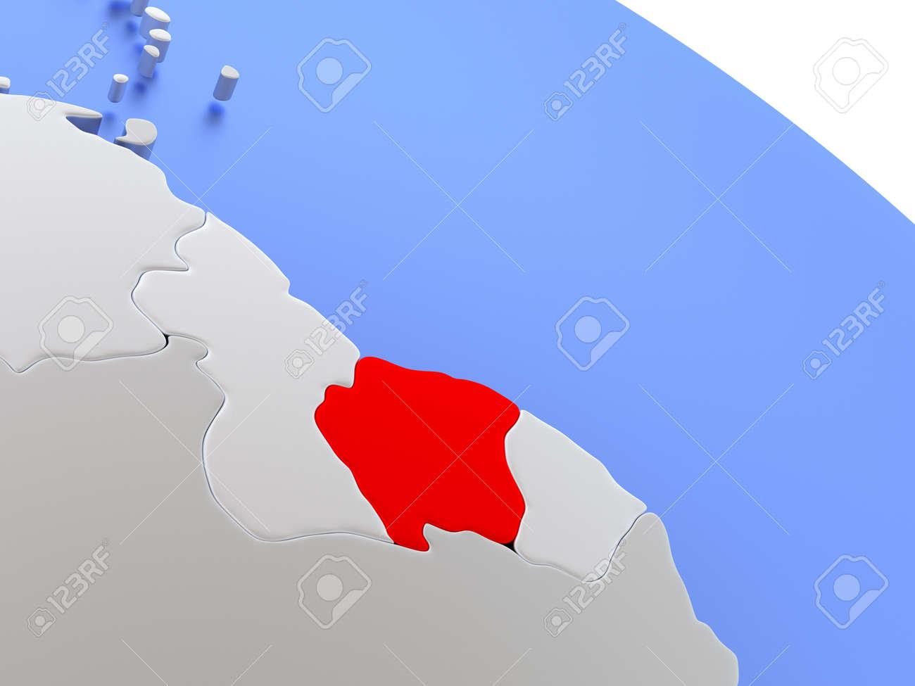 Mapa De Surinam El Mundo Elegante De Plata 3d Con Los Oceanos