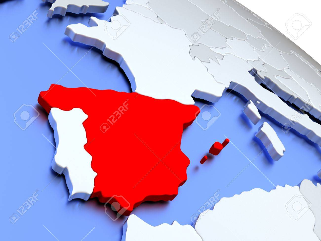 Map Of Spain Oceans.Stock Illustration