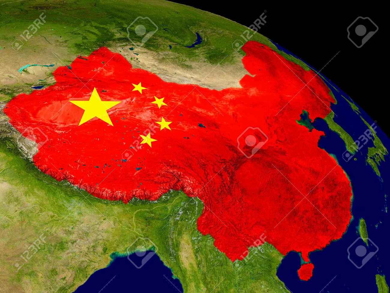 Carte De La Chine Avec Le Drapeau Incorpore Sur La Surface De La Planete Illustration 3d Banque D Images Et Photos Libres De Droits Image 66303356