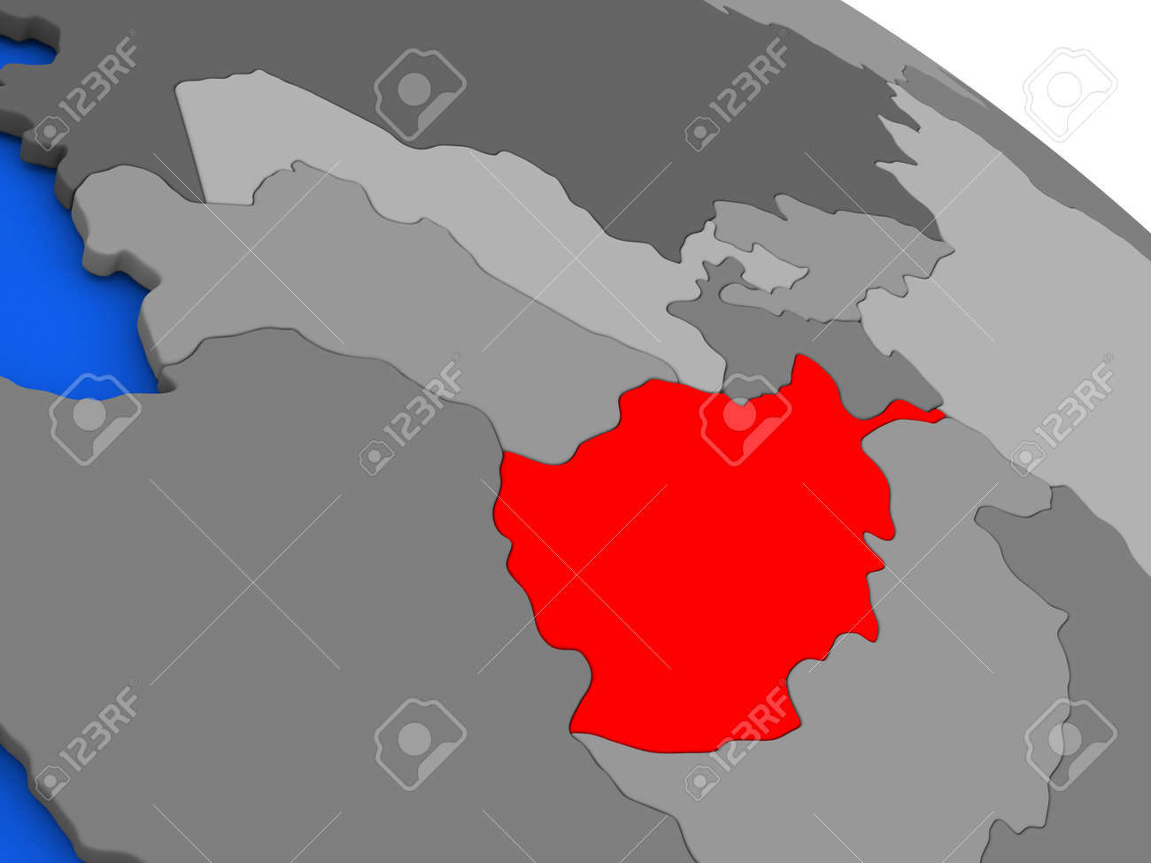 Map Of Afghanistan Highlighted In Red On A Globe 3d Illustration