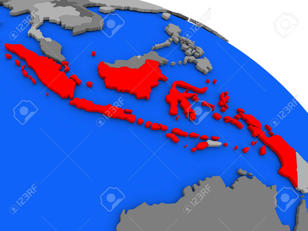 Map of indonesia highlighted in red on a globe 3d illustration map of indonesia highlighted in red on a globe 3d illustration foto de archivo gumiabroncs Images