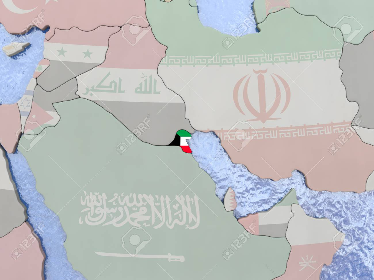 Kuwait Political Map.Map Of Kuwait With National Flag On Political Globe With Realistic