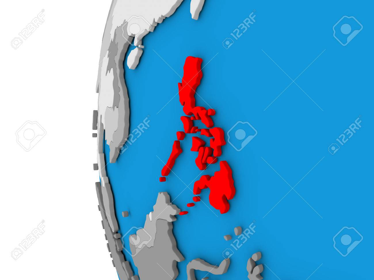 Simple Philippines Map.3d Map Of Philippines Focused In Red On Simple Globe 3d
