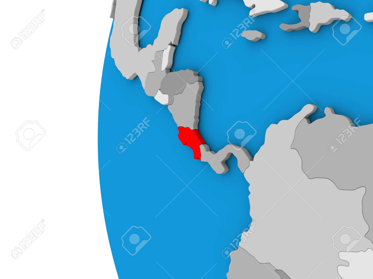 3d Map Of Costa Rica Focused In Red On Simple Globe 3d Illustration Stock Photo Picture And Royalty Free Image Image 68811078