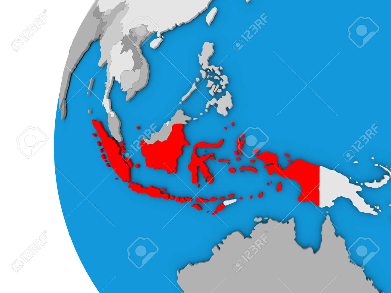 3D map of Indonesia focused in red