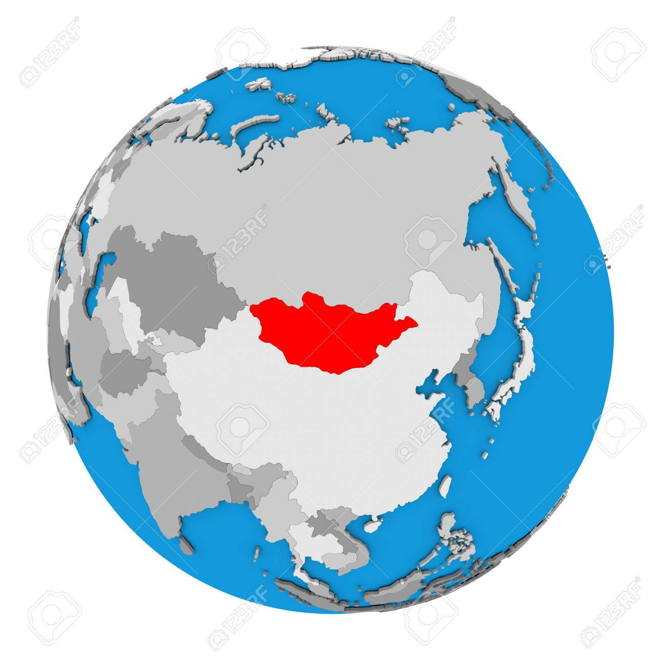 Picture of: Map Of Mongolia Highlighted In Red On Globe 3d Illustration Stock Photo Picture And Royalty Free Image Image 68917444