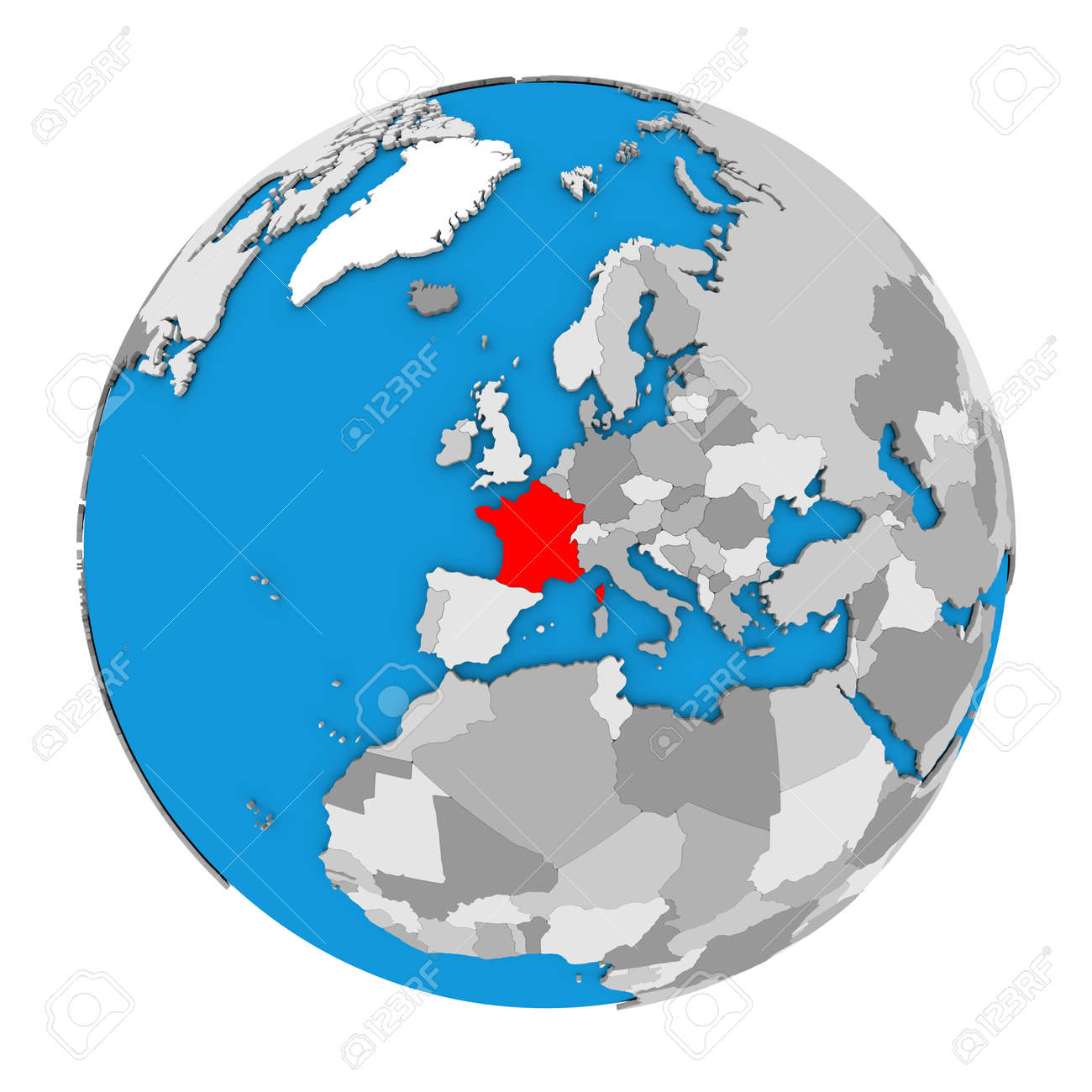 Map of france highlighted in red on globe 3d illustration isolated illustration map of france highlighted in red on globe 3d illustration isolated on white background gumiabroncs Images