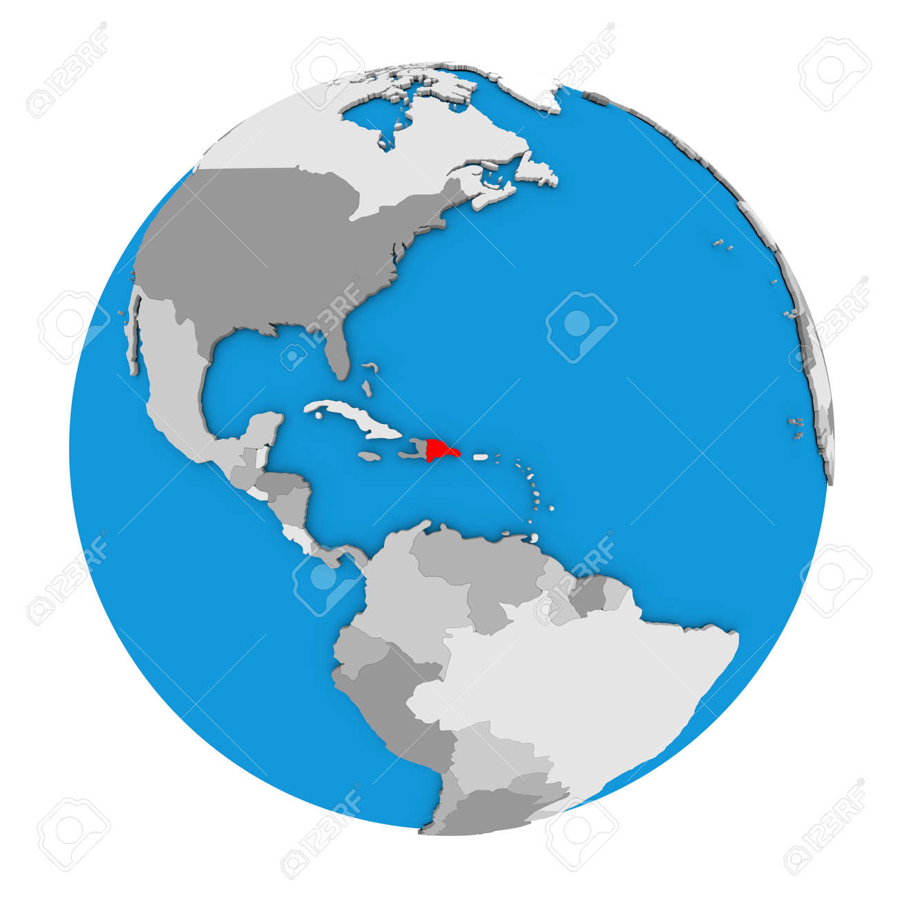 Picture of: Map Of Dominican Republic Highlighted In Red On Globe 3d Illustration Stock Photo Picture And Royalty Free Image Image 68917460