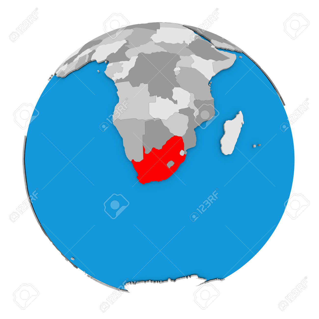 Map Of South Africa Highlighted In Red On Globe 3D Illustration