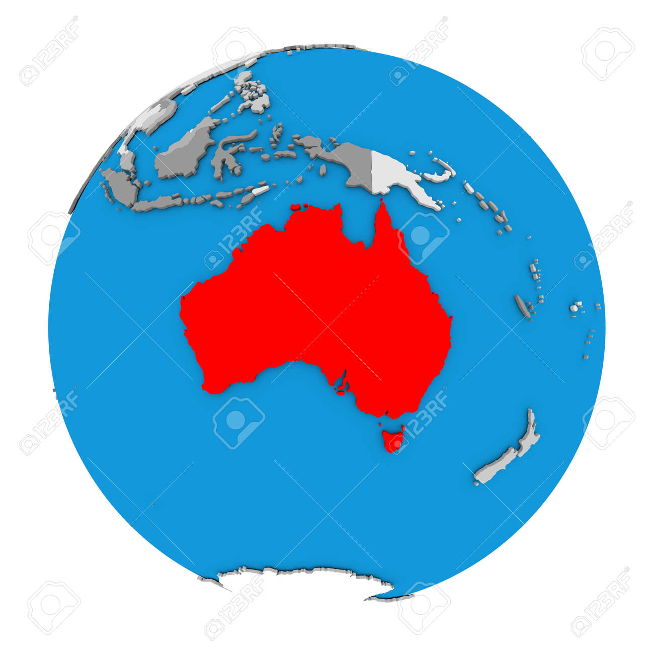 illustration map of australia highlighted in red on globe 3d illustration isolated on white background