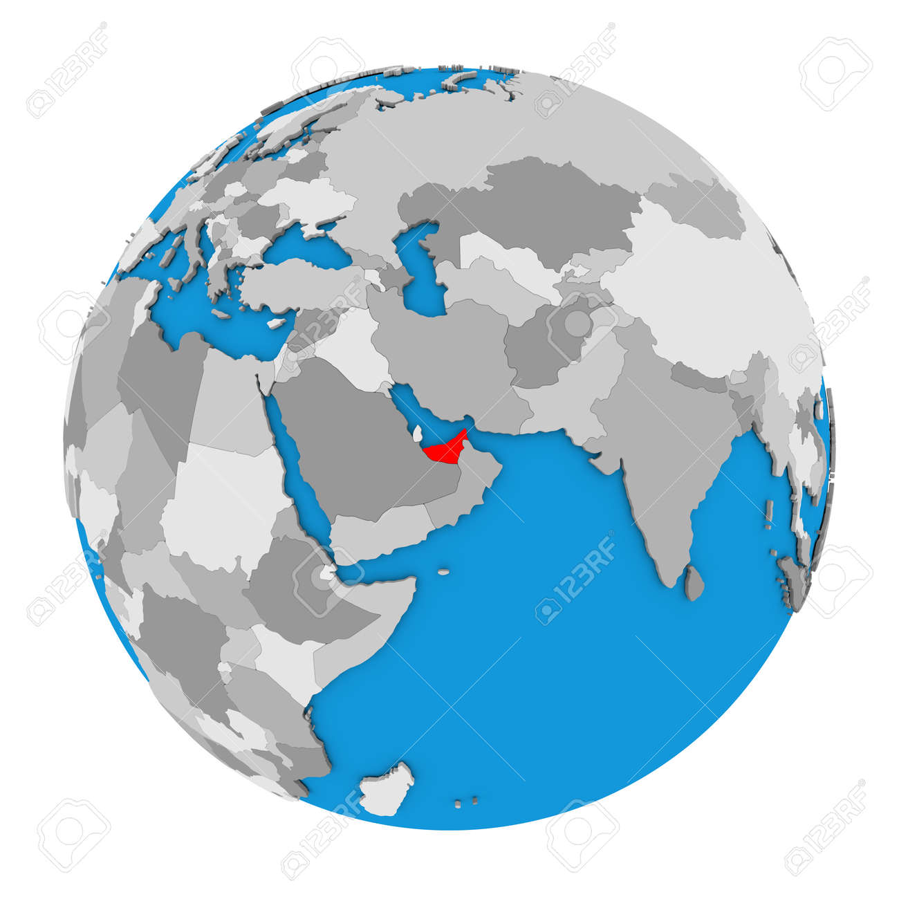 Map Of United Arab Emirates Highlighted In Red On Globe. 3D ...
