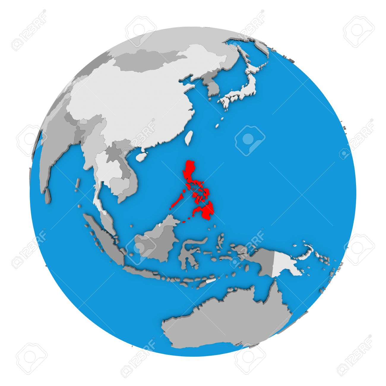 Globe Map Pictures.Map Of Philippines Highlighted In Red On Globe 3d Illustration