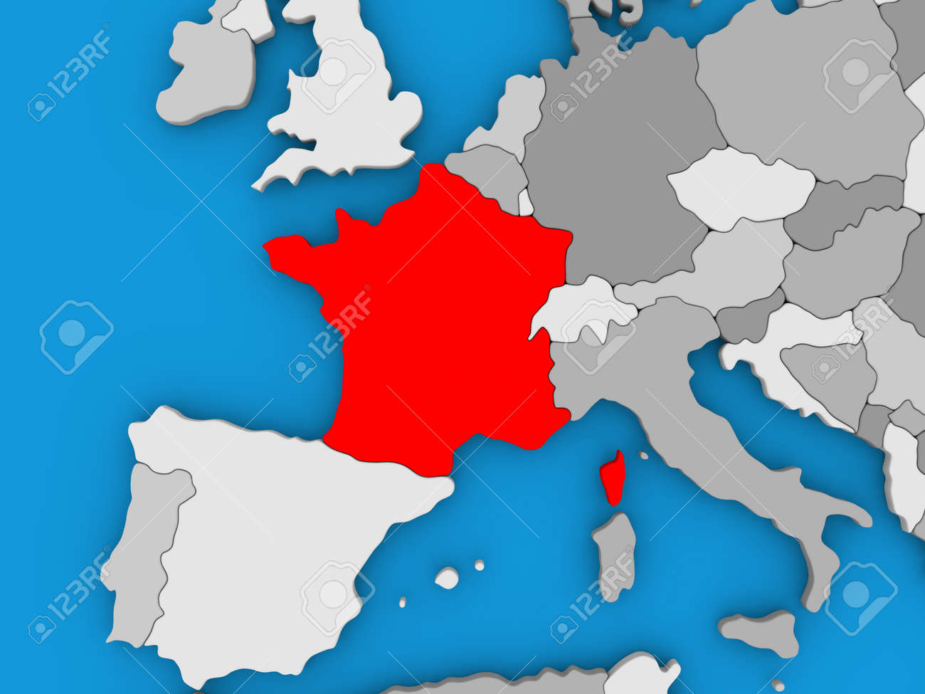 Map of france on globe highlighted in red 3d illustration stock illustration map of france on globe highlighted in red 3d illustration gumiabroncs Images