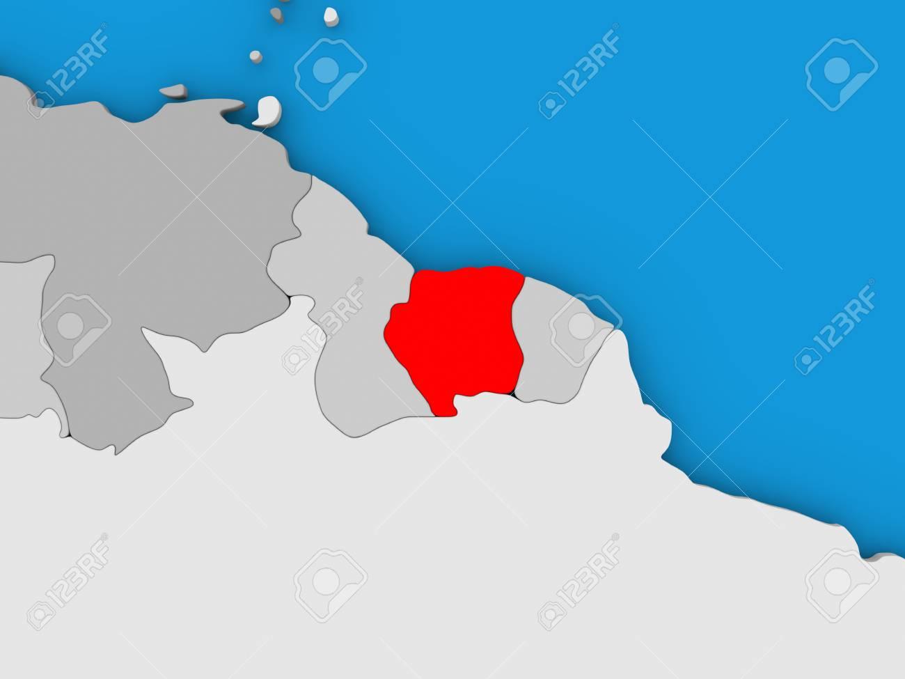 Mapa De Surinam En El Mundo Resaltado En Rojo Ilustracion 3d
