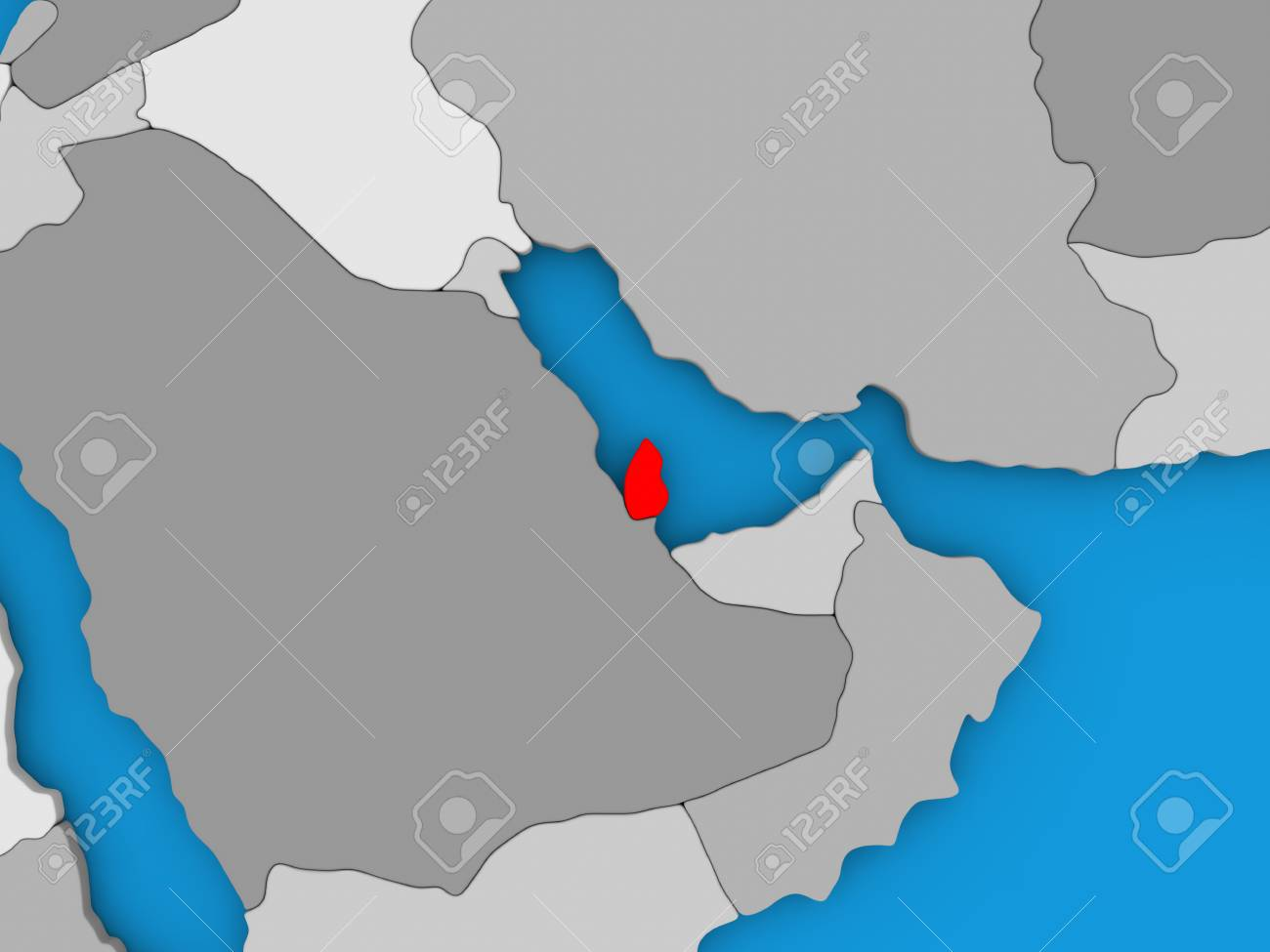 Map Of Qatar On Globe Highlighted In Red 3d Illustration Stock