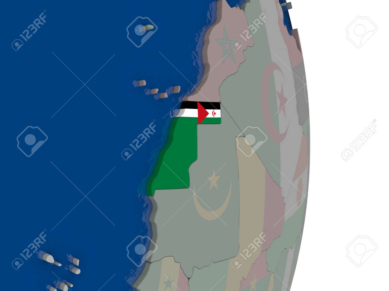 Image of: Map Of Western Sahara With Its Flag On Globe 3d Illustration Stock Photo Picture And Royalty Free Image Image 70114707