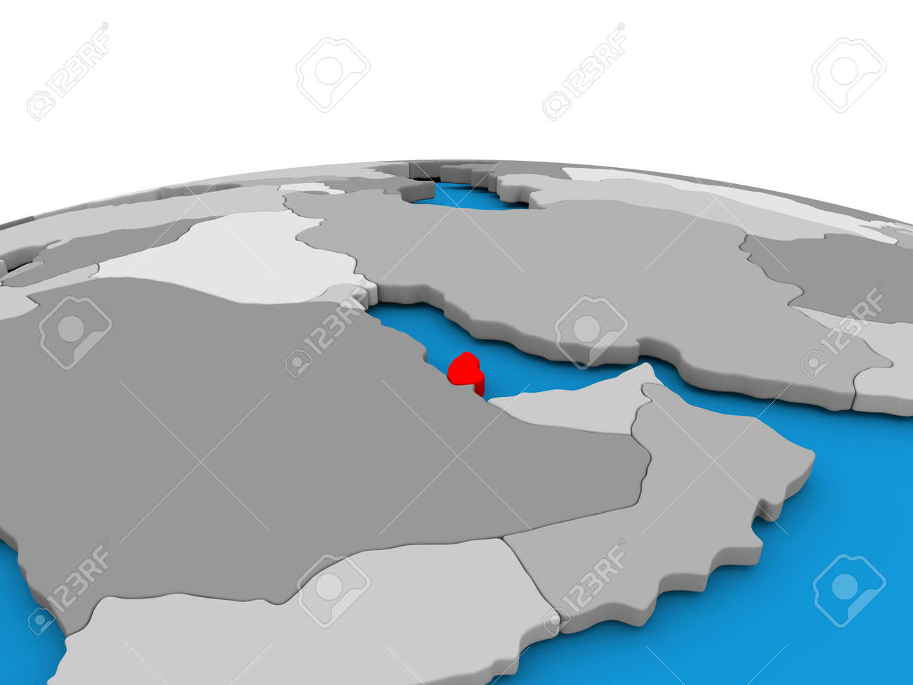 Map Of Qatar Highlighted In Red On Simple Globe 3d Illustration