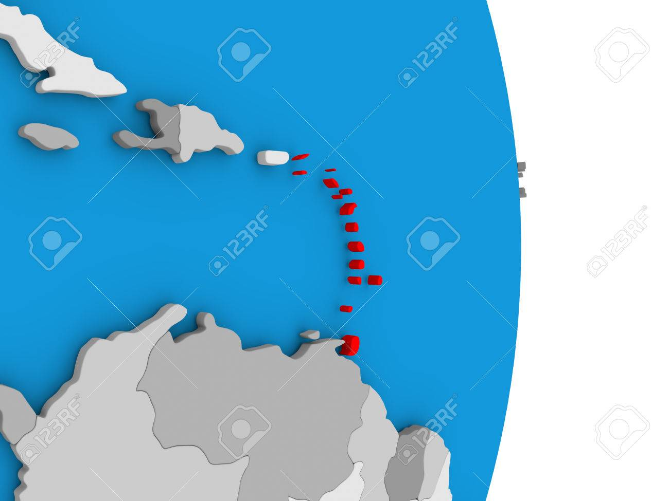 Map of caribbean in red on globe 3d illustration stock photo illustration map of caribbean in red on globe 3d illustration gumiabroncs Image collections