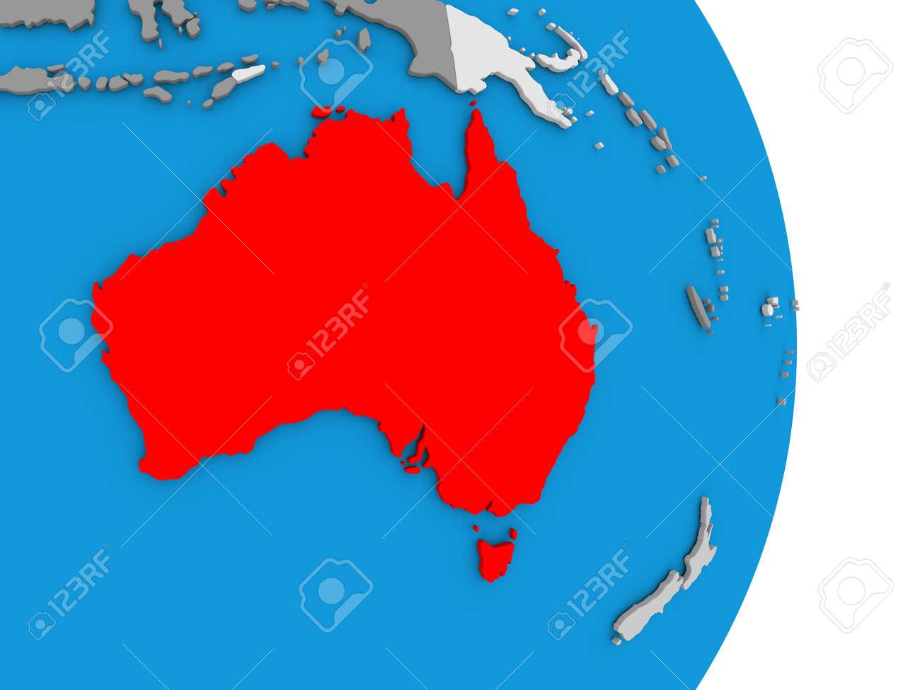 illustration map of australia in red on globe 3d illustration
