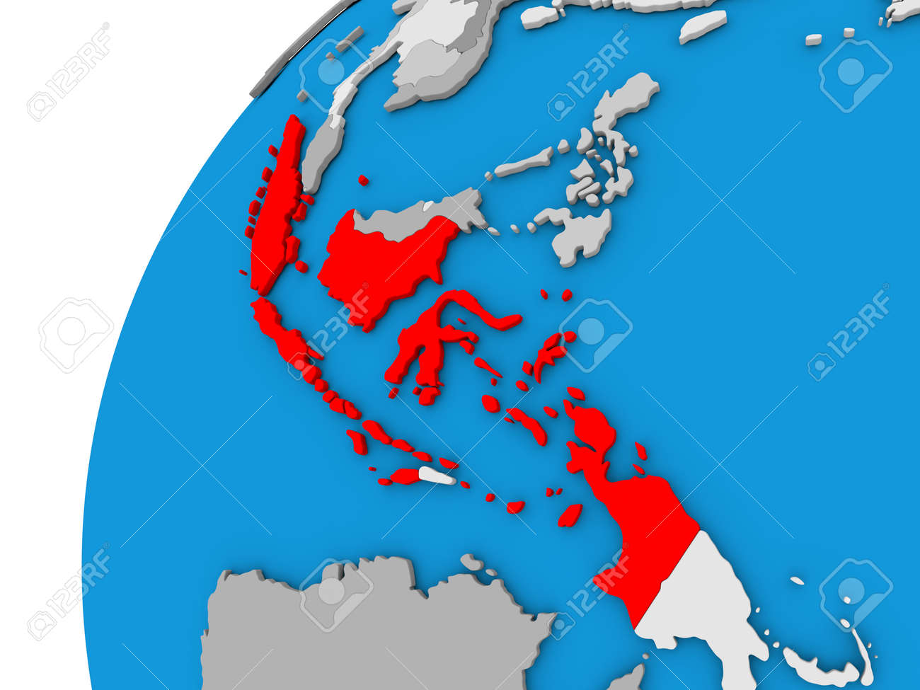 Indonesia highlighted in red on globe with visible country borders indonesia highlighted in red on globe with visible country borders 3d illustration foto de archivo gumiabroncs Images