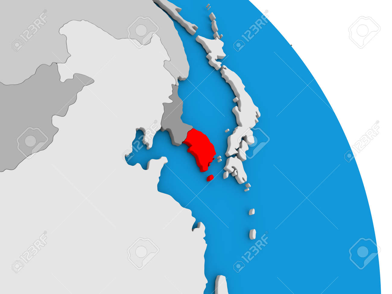South korea highlighted in red on simple globe with visible south korea highlighted in red on simple globe with visible country borders 3d illustration stock gumiabroncs Images