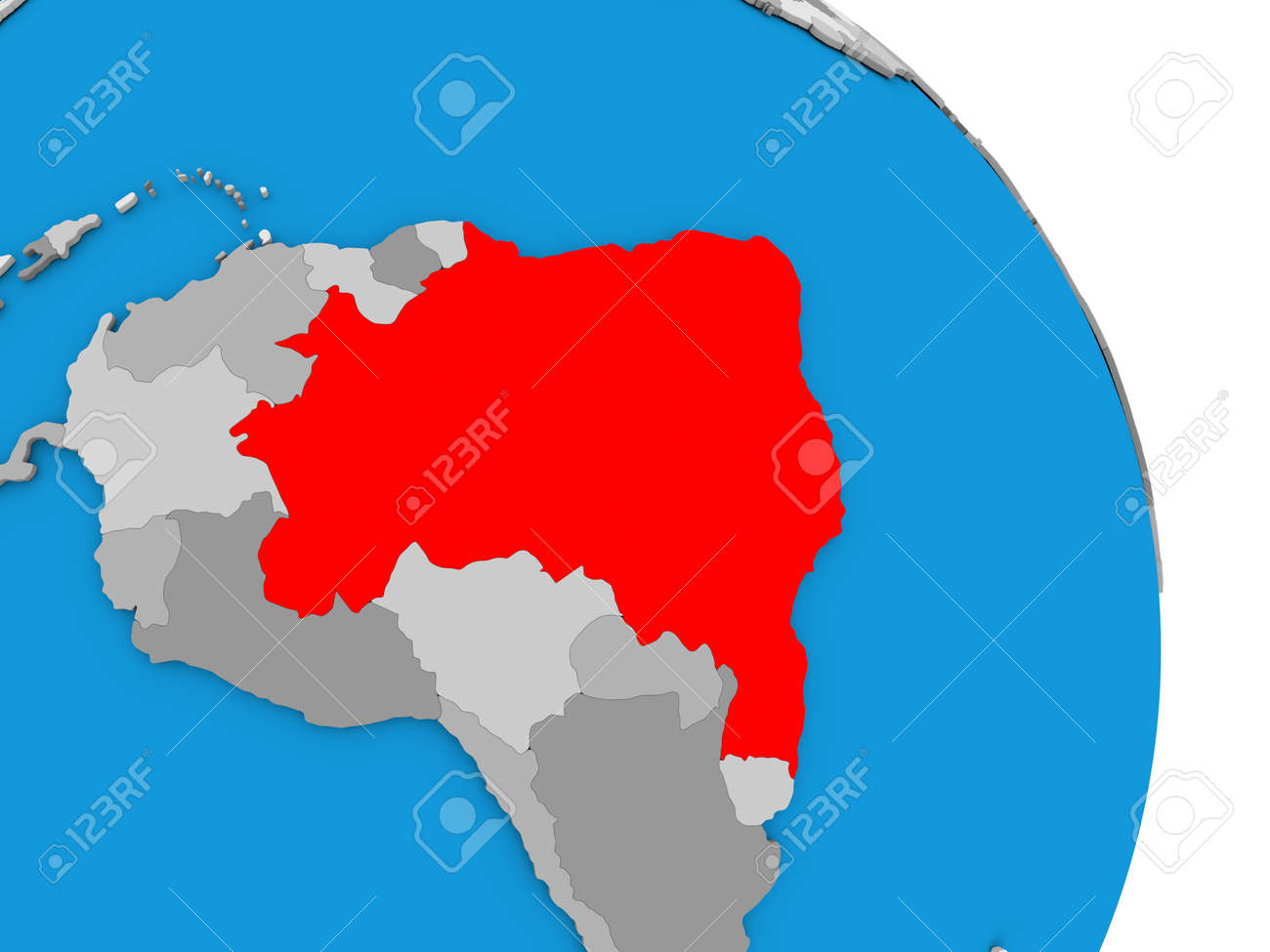 Brazil highlighted in red on simple globe with visible country brazil highlighted in red on simple globe with visible country borders 3d illustration stock illustration gumiabroncs Images