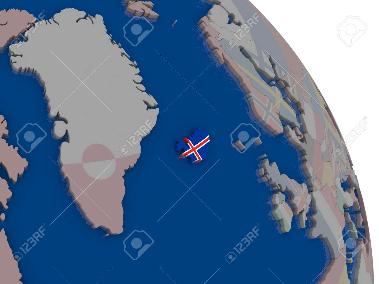 Iceland with embedded national flag on globe highly detailed iceland with embedded national flag on globe highly detailed 3d illustration with accurate flag colors gumiabroncs