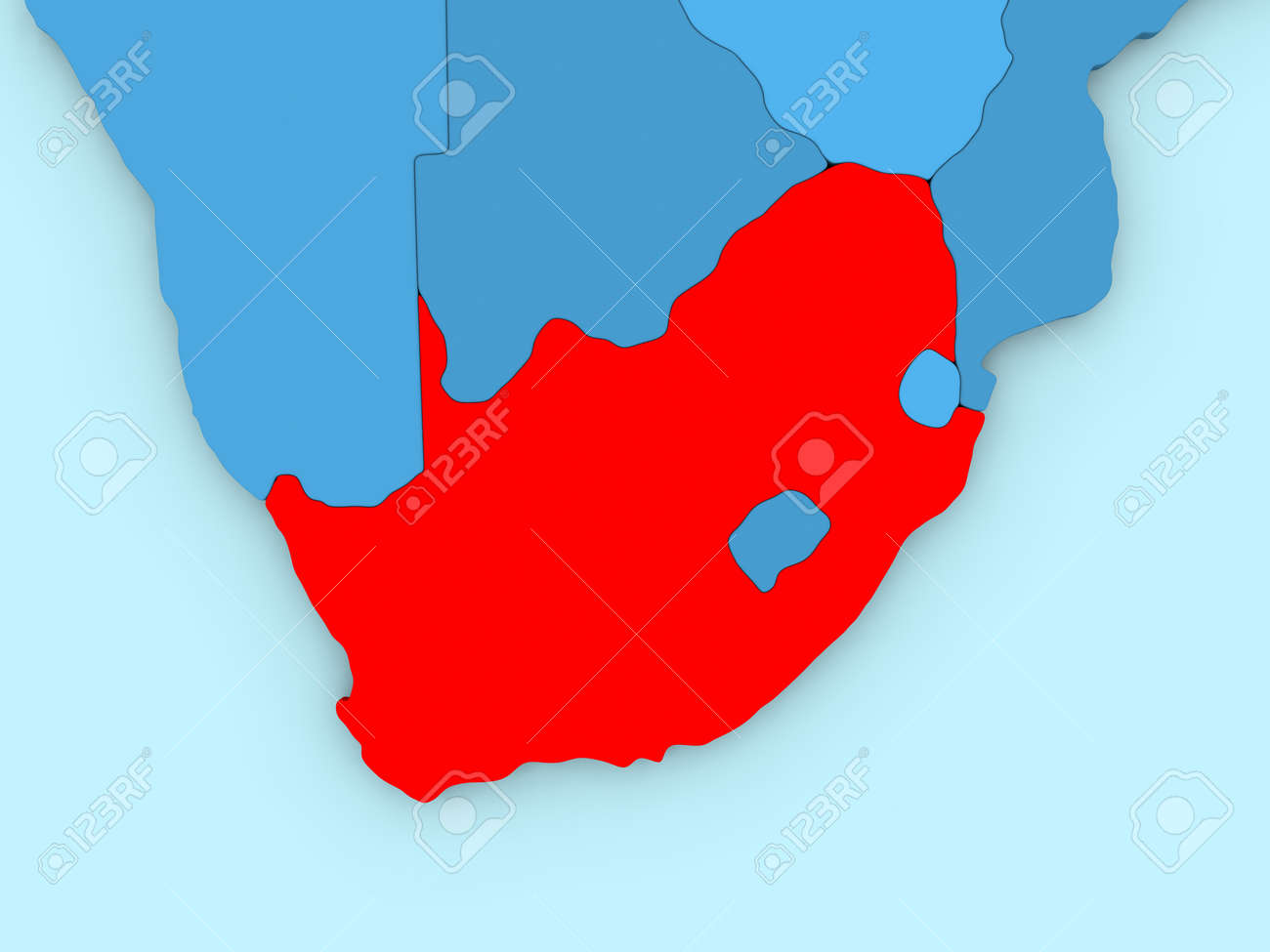 Country of south africa highlighted in red on blue map 3d country of south africa highlighted in red on blue map 3d illustration stock illustration gumiabroncs Image collections