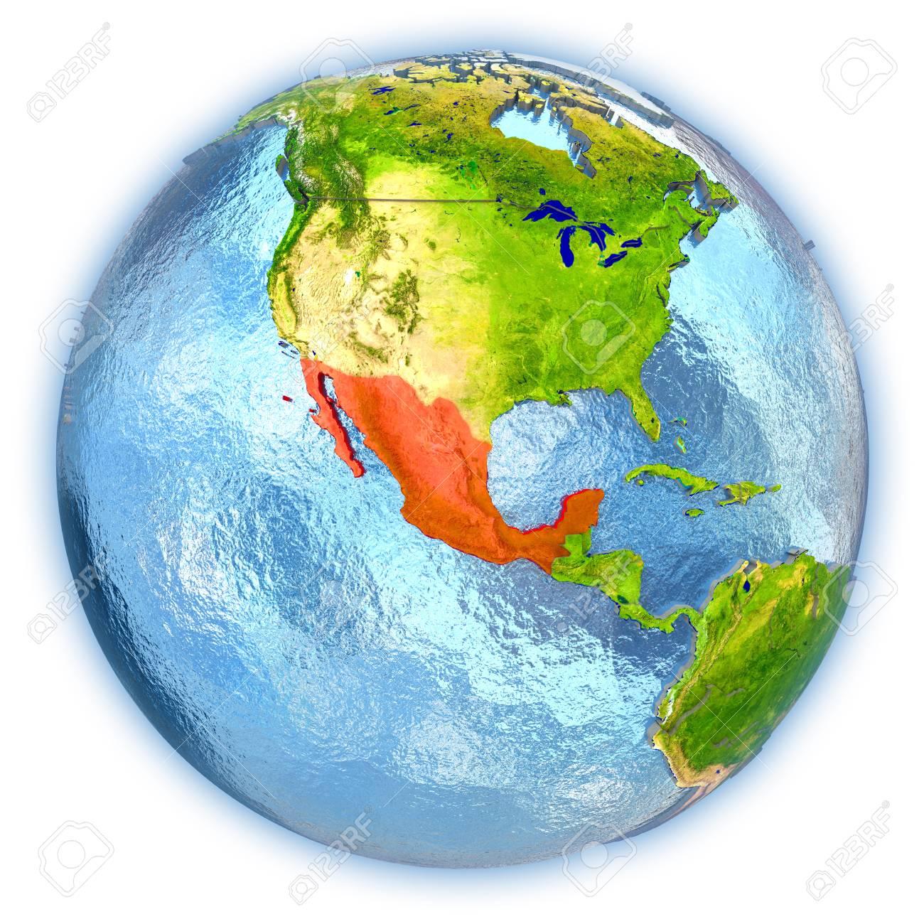 Malerisch Weltkugel 3d Das Beste Von Mexiko Hob In Rot Auf Dem Mit