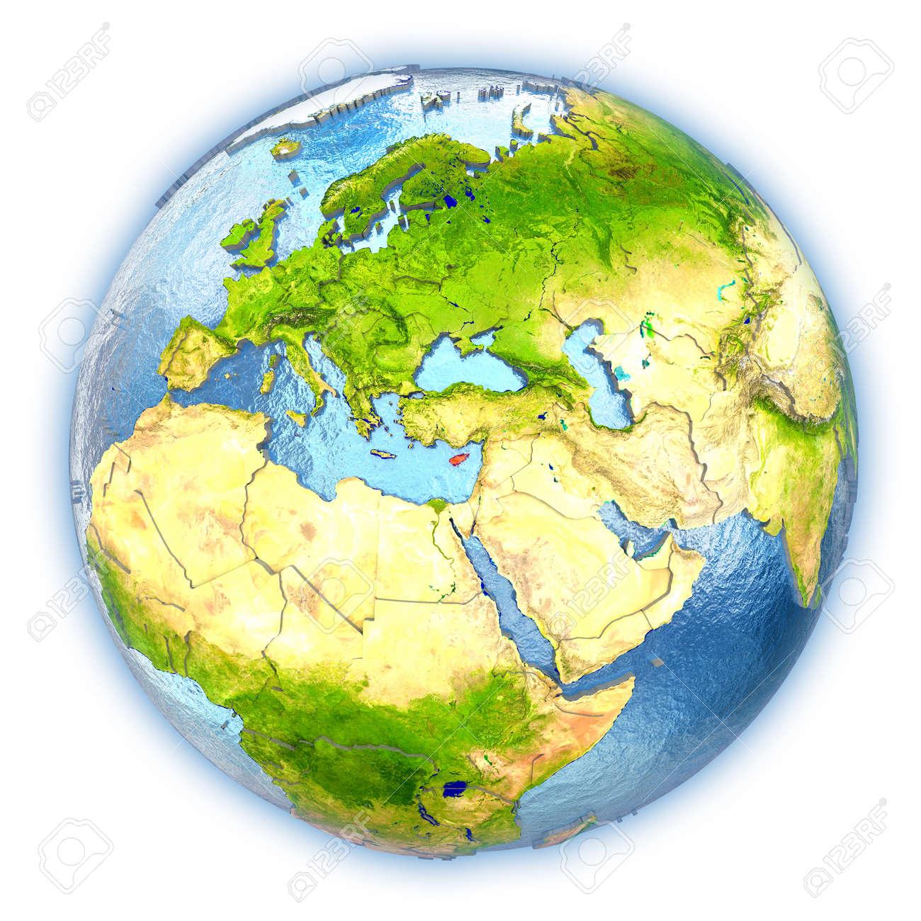 Künstlerisch Weltkugel 3d Referenz Von Standard-bild - Zypern Hob In Rot Auf