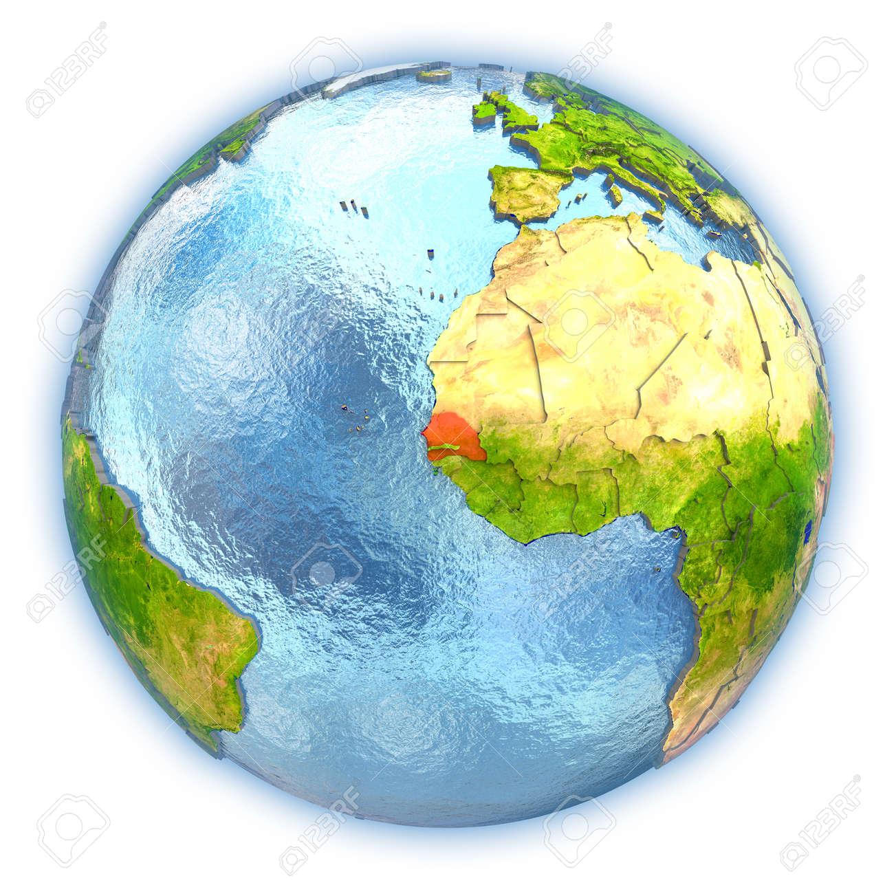 Eitelkeit Weltkugel 3d Foto Von Senegal Hob In Rot Auf Dem Mit